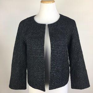 Eileen Fisher Crop Open Front Blazer Textured